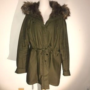 Army Green Parka with Faux Fur Hood